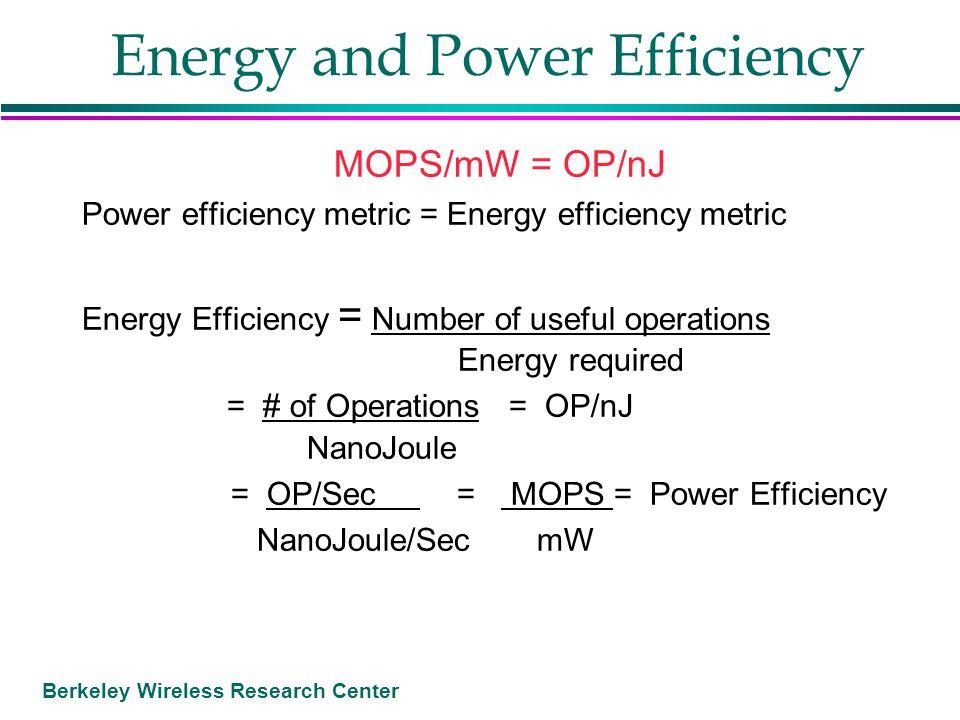 Berkeley Wireless Research Center Energy and Power Efficiency MOPS/mW = OP/nJ Power efficiency metric = Energy efficiency metric Energy Efficiency = N