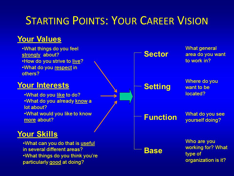 Sector Setting Function Base S TARTING P OINTS : Y OUR C AREER V ISION What general area do you want to work in.