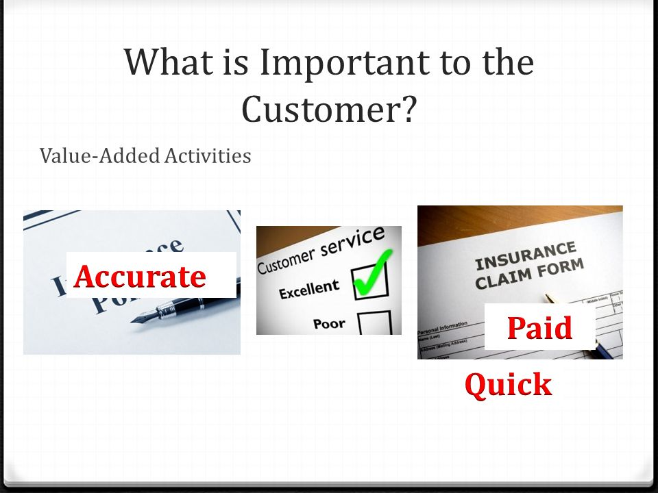 What is Important to the Customer? Value-Added Activities