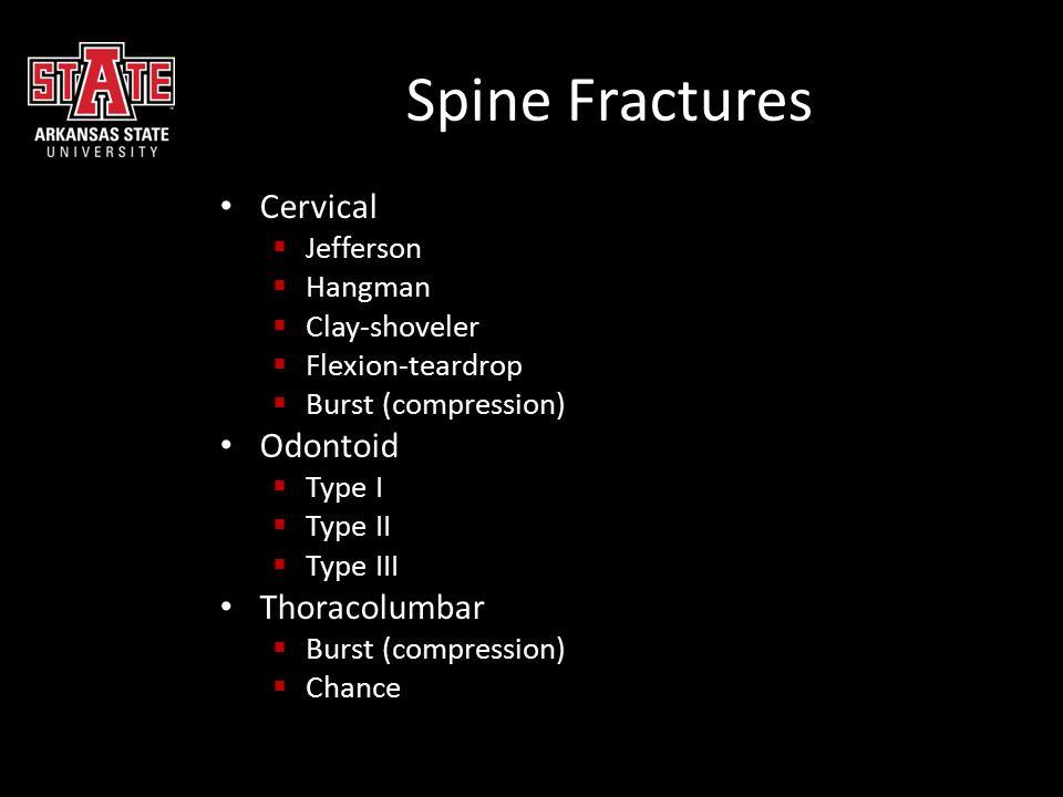 Spine Fractures Cervical  Jefferson  Hangman  Clay-shoveler  Flexion-teardrop  Burst (compression) Odontoid  Type I  Type II  Type III Thoraco