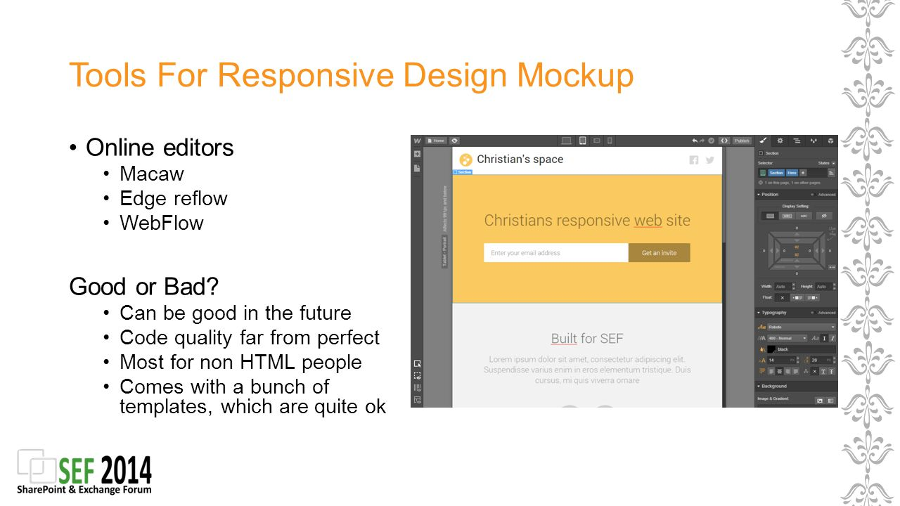 Tools For Responsive Design Mockup Online editors Macaw Edge reflow WebFlow Good or Bad.