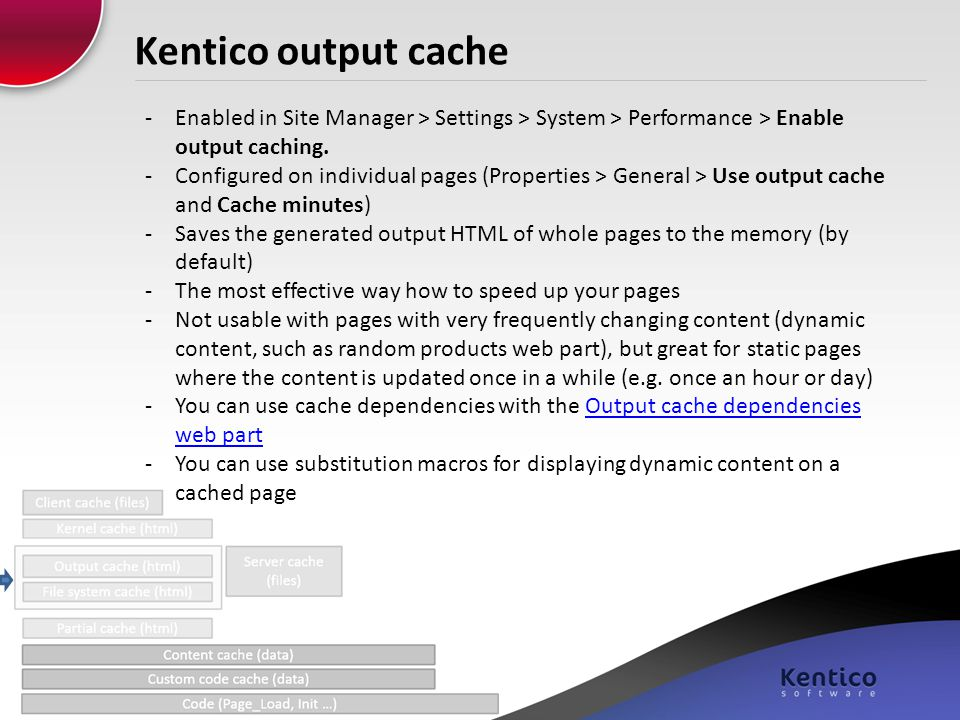 Kentico output cache -Enabled in Site Manager > Settings > System > Performance > Enable output caching. -Configured on individual pages (Properties >