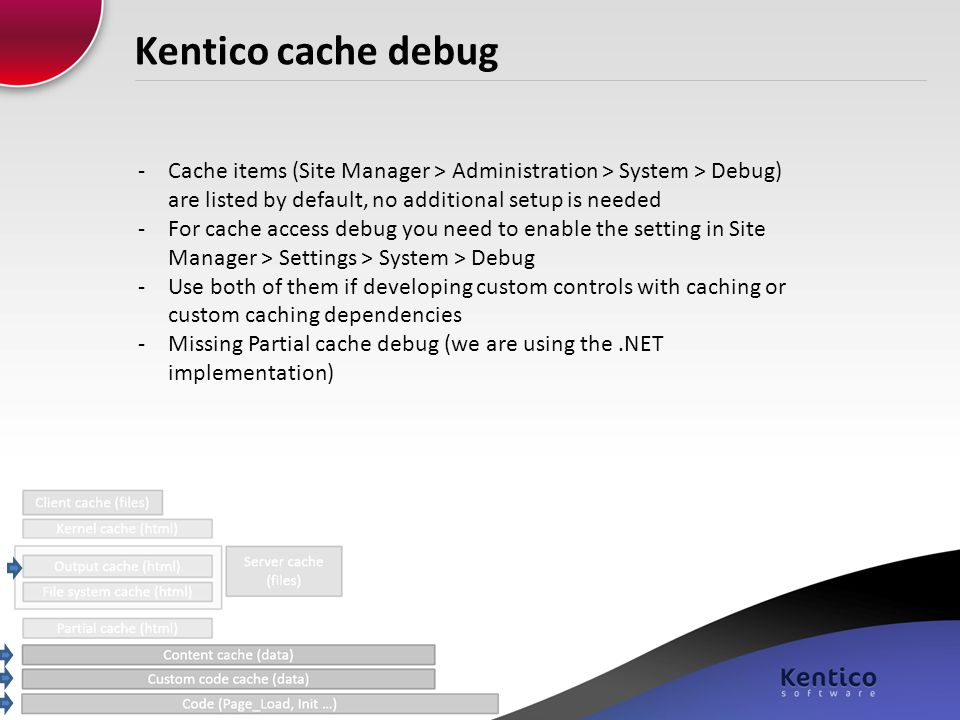 Kentico cache debug -Cache items (Site Manager > Administration > System > Debug) are listed by default, no additional setup is needed -For cache acce