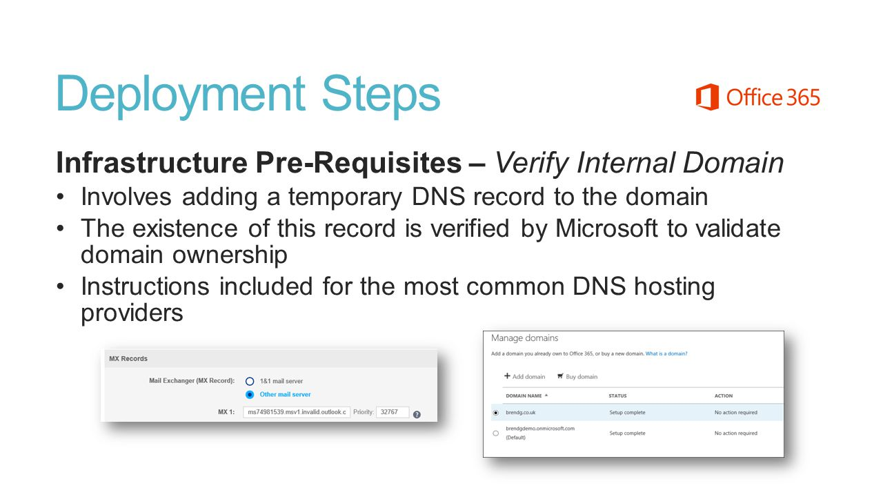 Deployment Steps Infrastructure Pre-Requisites – Verify Internal Domain Involves adding a temporary DNS record to the domain The existence of this rec