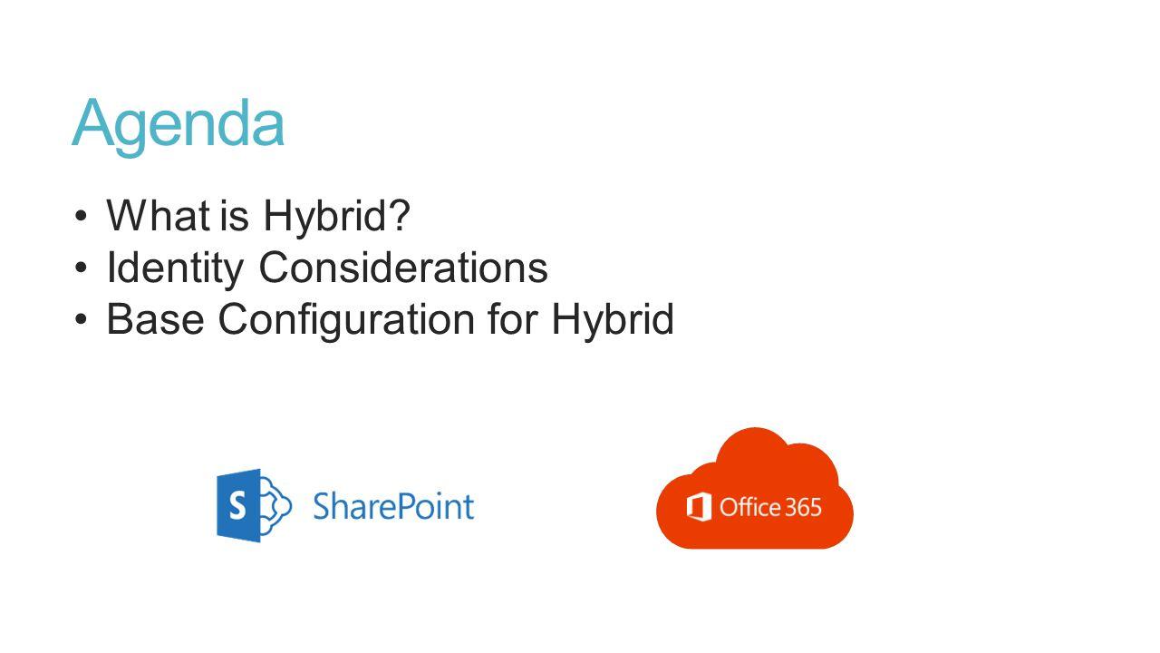 Agenda What is Hybrid? Identity Considerations Base Configuration for Hybrid