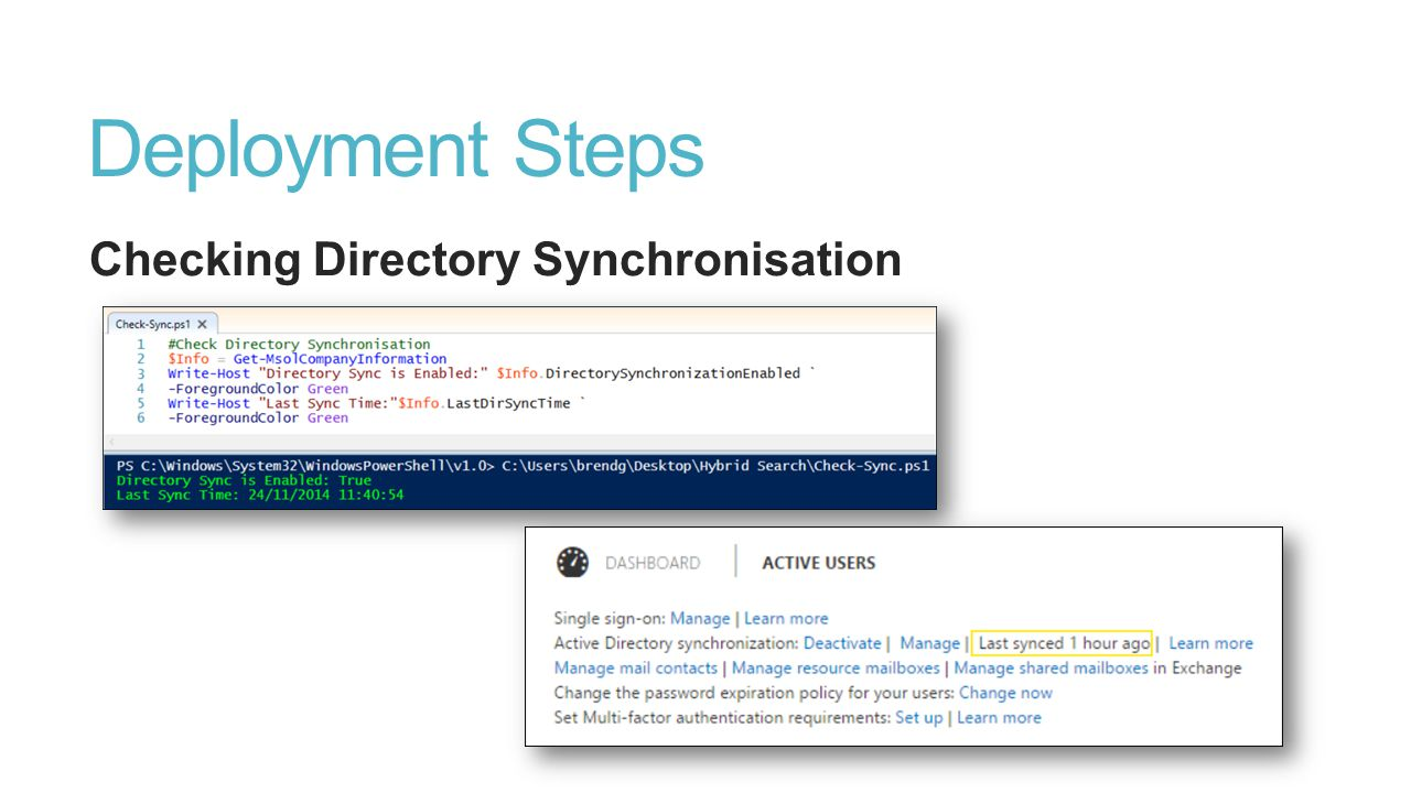 Deployment Steps Checking Directory Synchronisation