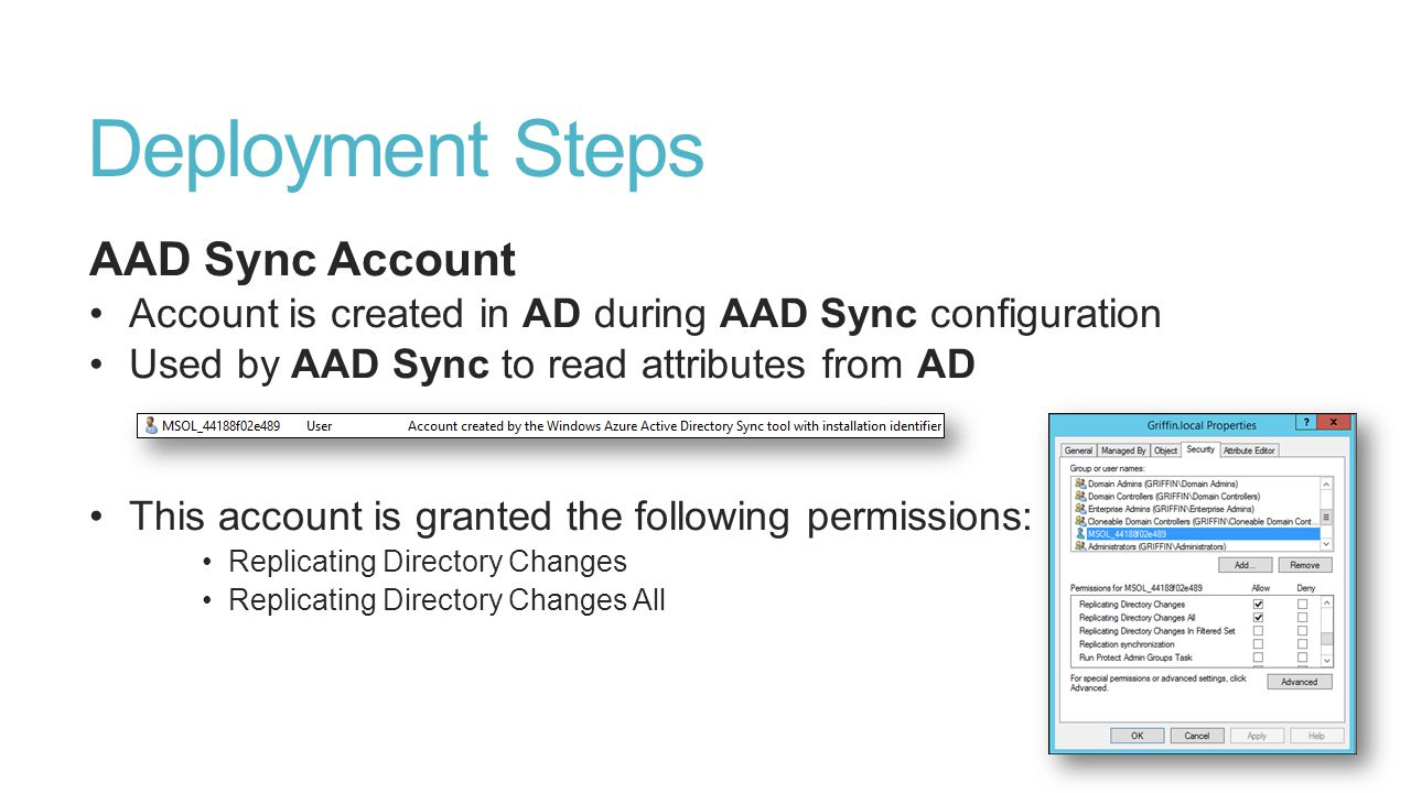 Deployment Steps AAD Sync Account Account is created in AD during AAD Sync configuration Used by AAD Sync to read attributes from AD This account is g