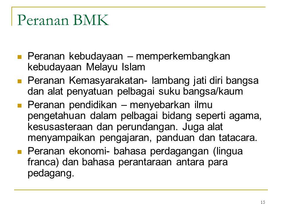 15 Peranan BMK Peranan kebudayaan – memperkembangkan kebudayaan Melayu Islam Peranan Kemasyarakatan- lambang jati diri bangsa dan alat penyatuan pelba