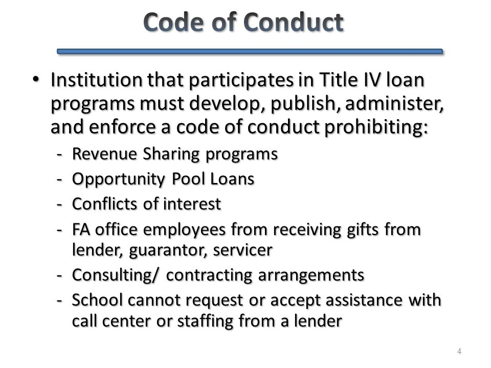5 COC must prohibit directing borrowers to particular lenders COC must prohibit directing borrowers to particular lenders – For first-time borrowers, you cannot assign (through packaging or other methods) the borrower's loan to a particular lender Prohibit delaying loan certification Prohibit delaying loan certification – Cannot refuse to certify, or delay certification of, any loan based on borrower's lender selection