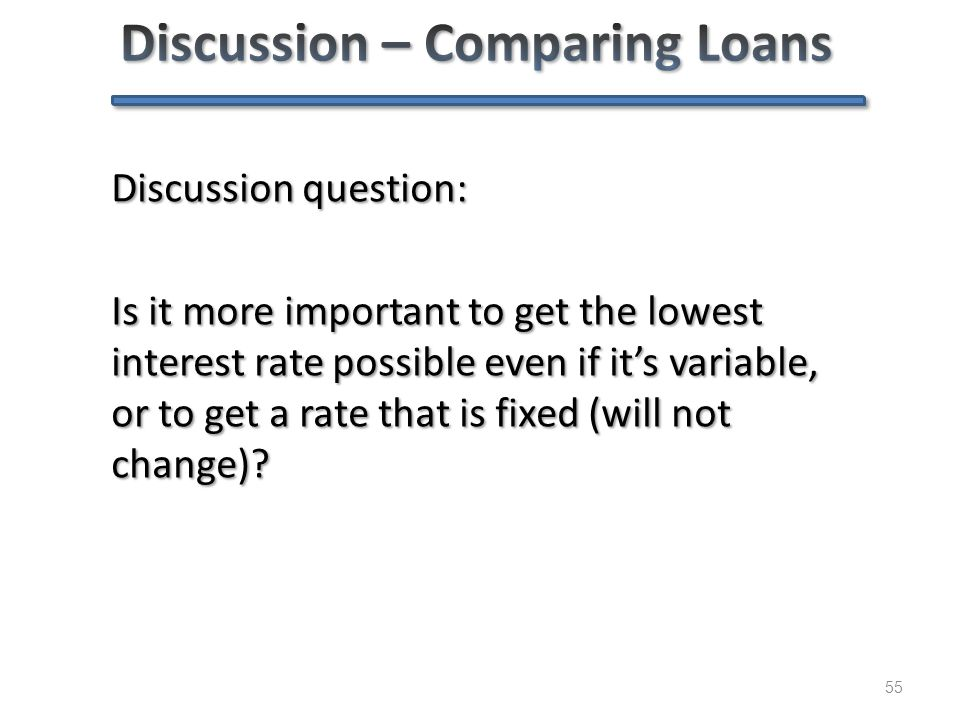 55 Discussion question: Is it more important to get the lowest interest rate possible even if it's variable, or to get a rate that is fixed (will not