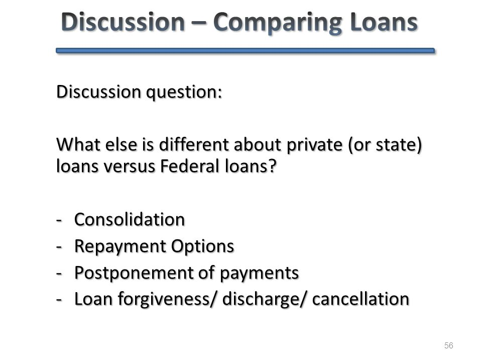 56 Discussion question: What else is different about private (or state) loans versus Federal loans? -Consolidation -Repayment Options -Postponement of