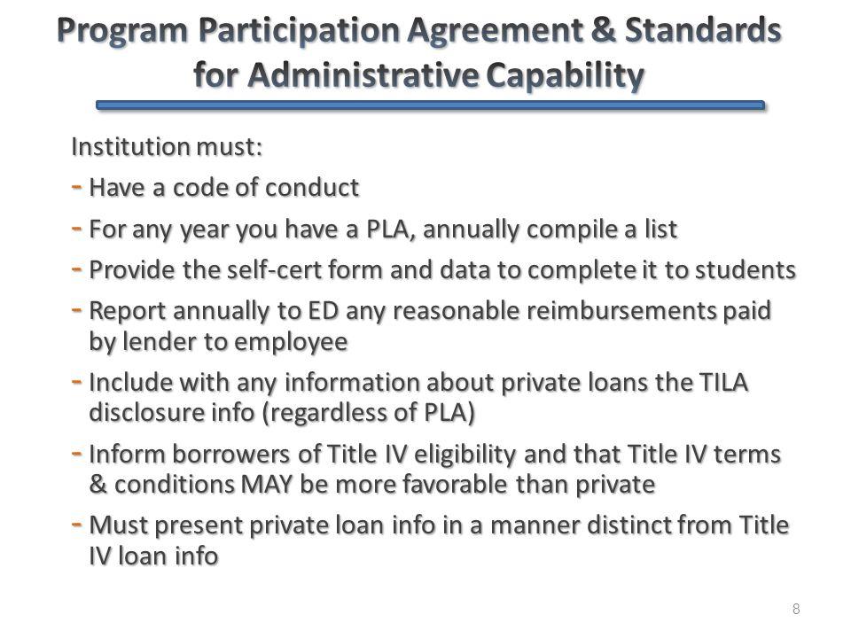 Private Loans 101 - Agenda 9 Code of Conduct & PPA Code of Conduct & PPA What is a private loan, and what isn't.