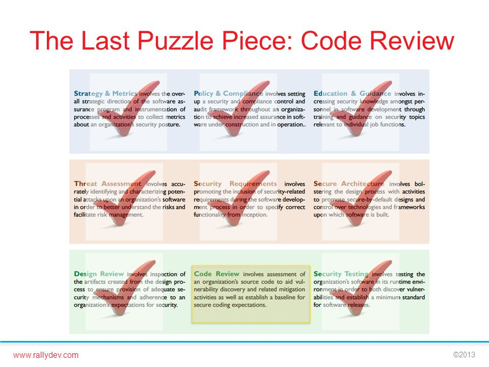 www.rallydev.com ©2013 The Last Puzzle Piece: Code Review