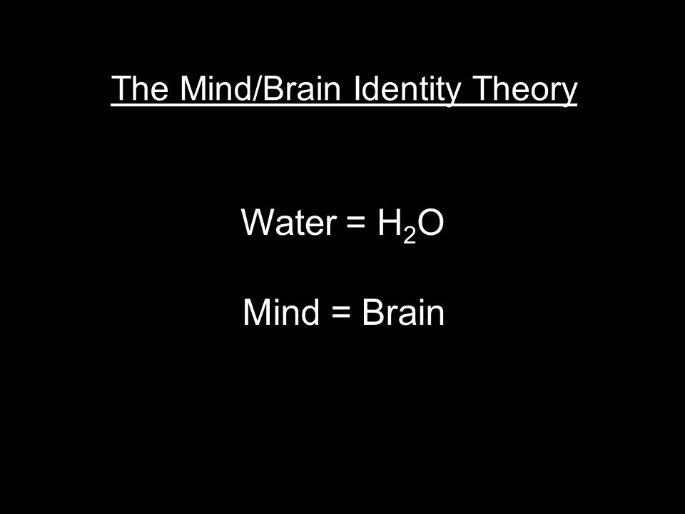 The Mind/Brain Identity Theory Water = H 2 O Mind = Brain