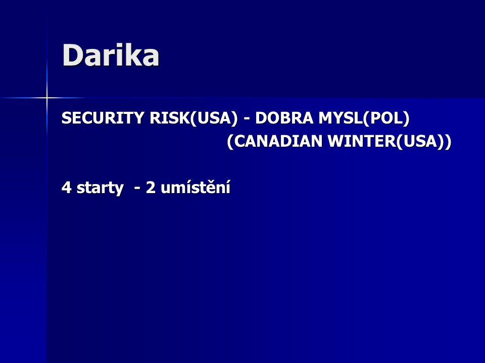 Darika SECURITY RISK(USA) - DOBRA MYSL(POL) (CANADIAN WINTER(USA)) (CANADIAN WINTER(USA)) 4 starty - 2 umístění