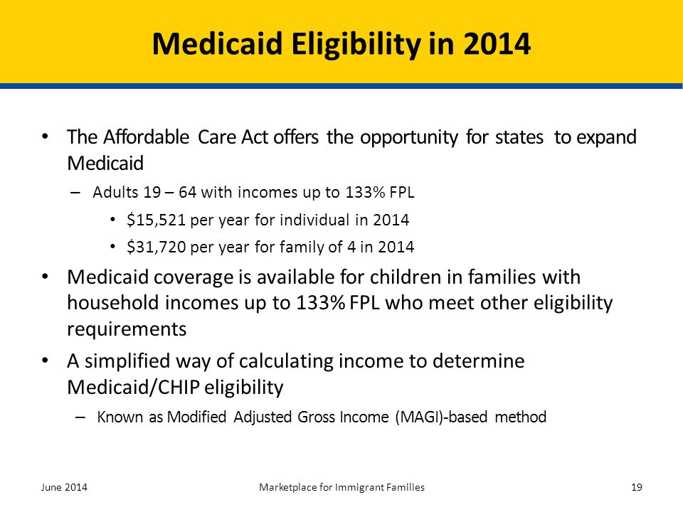 The Affordable Care Act offers the opportunity for states to expand Medicaid – Adults 19 – 64 with incomes up to 133% FPL $15,521 per year for individ