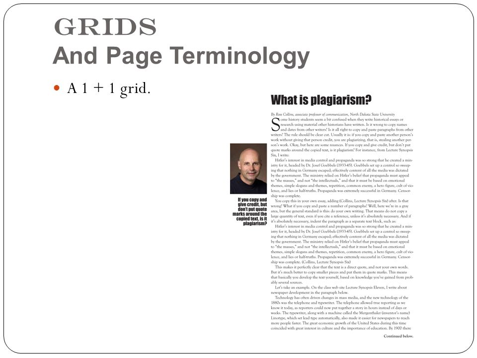 Grids And Page Terminology A 1 + 1 grid.