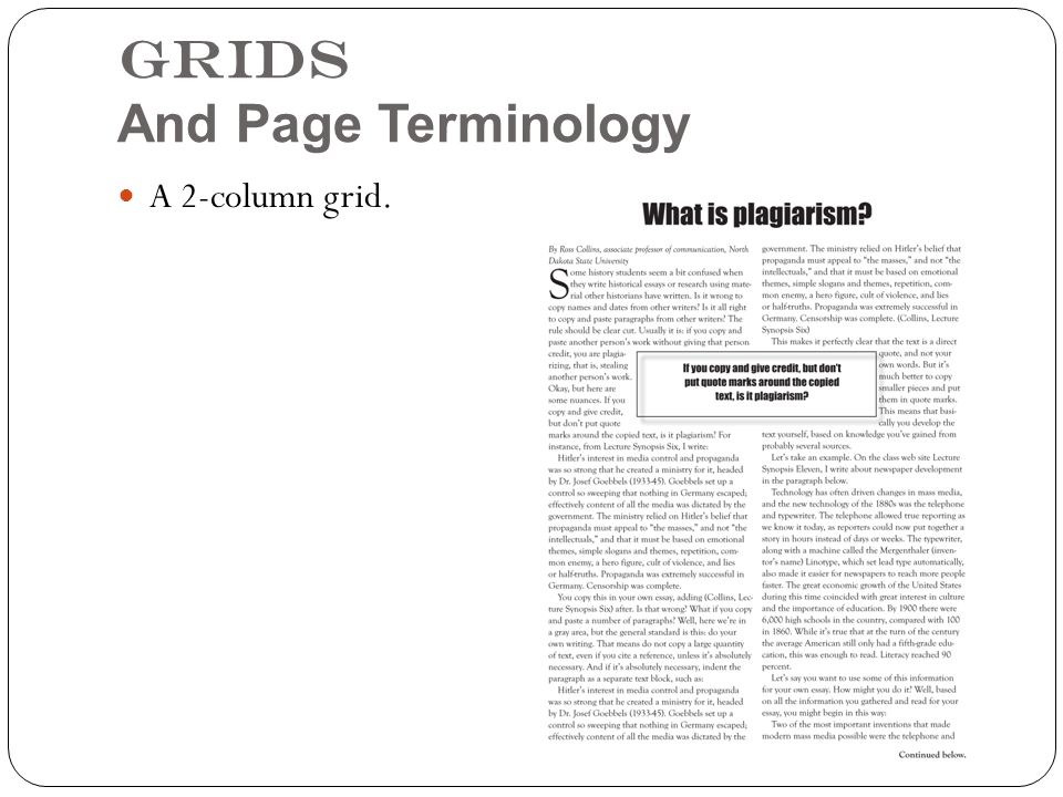 Grids And Page Terminology A 2-column grid.