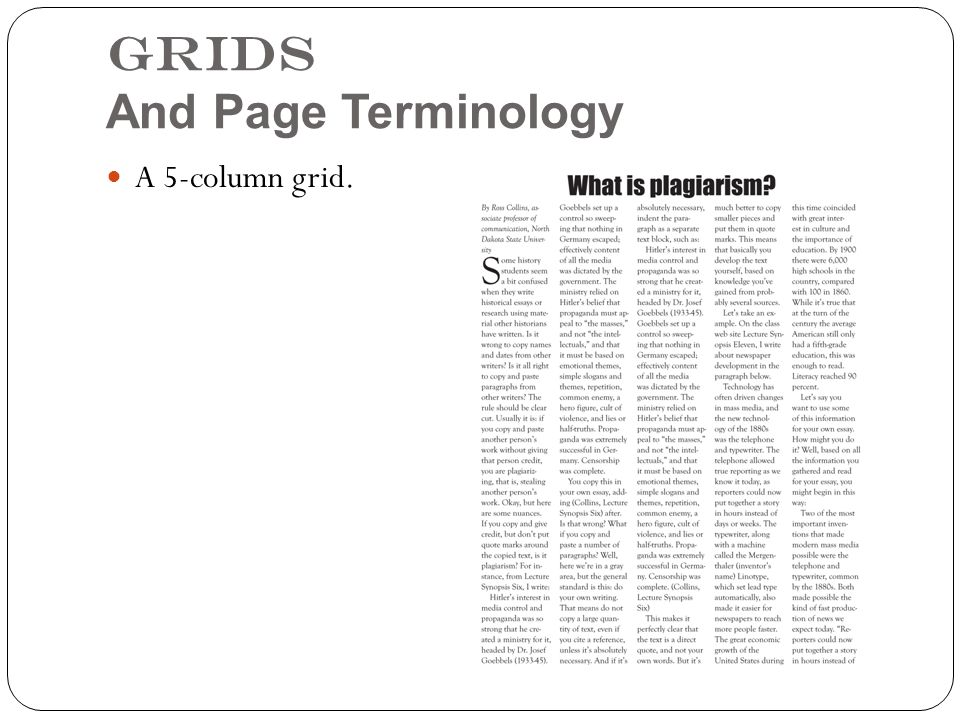 Grids And Page Terminology A 5-column grid.
