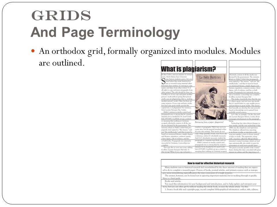 Grids And Page Terminology An orthodox grid, formally organized into modules. Modules are outlined.