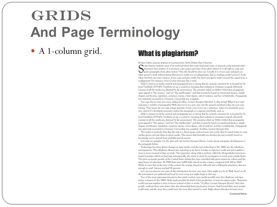 Grids And Page Terminology A 1-column grid.