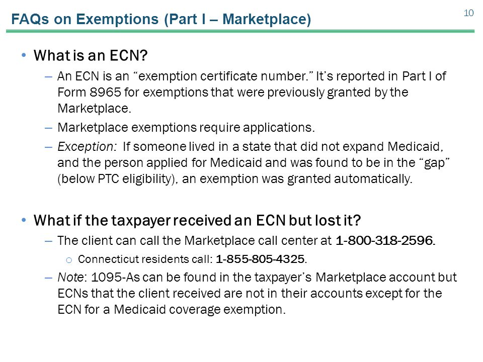 FAQs on Exemptions (Part I – Marketplace) What is an ECN.