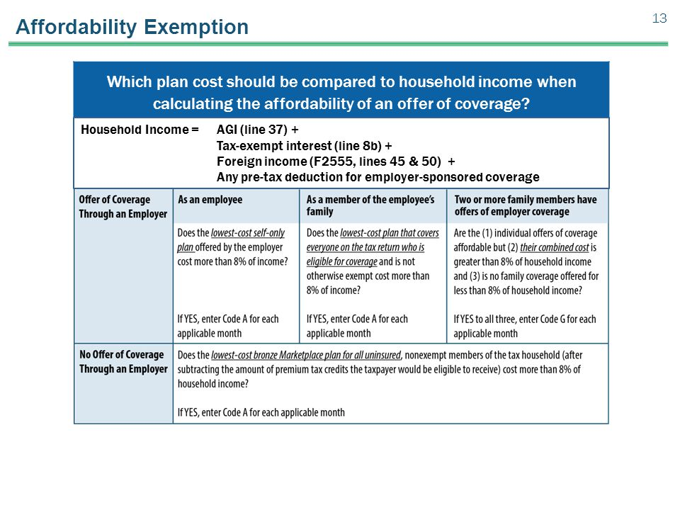 Affordability Exemption Which plan cost should be compared to household income when calculating the affordability of an offer of coverage.