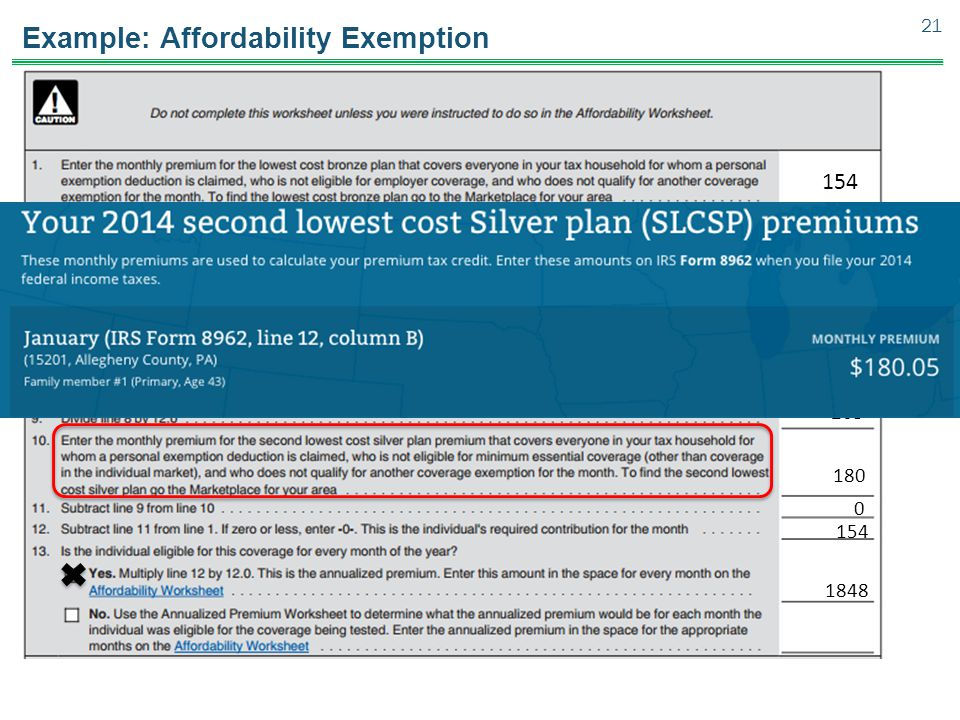 Example: Affordability Exemption 21 3,157 154 48,500 0 23,550 2.06 0.0651 263 3,157 180 0 154 1848