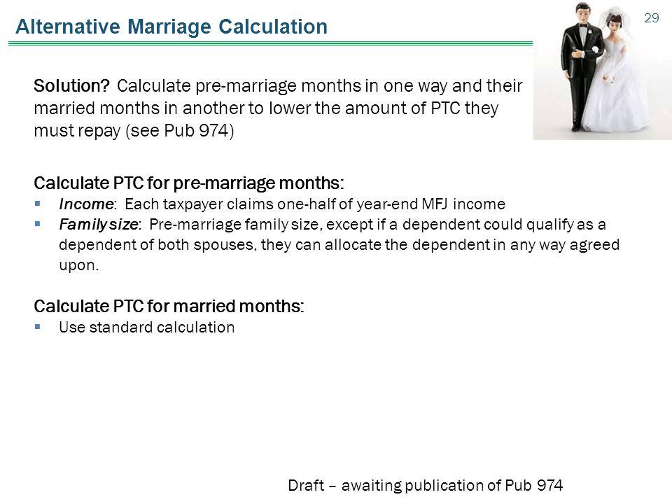 Alternative Marriage Calculation Solution.