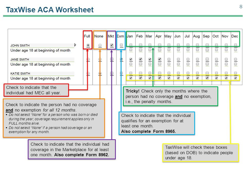TaxWise ACA Worksheet 8 Check to indicate that the individual had MEC all year.