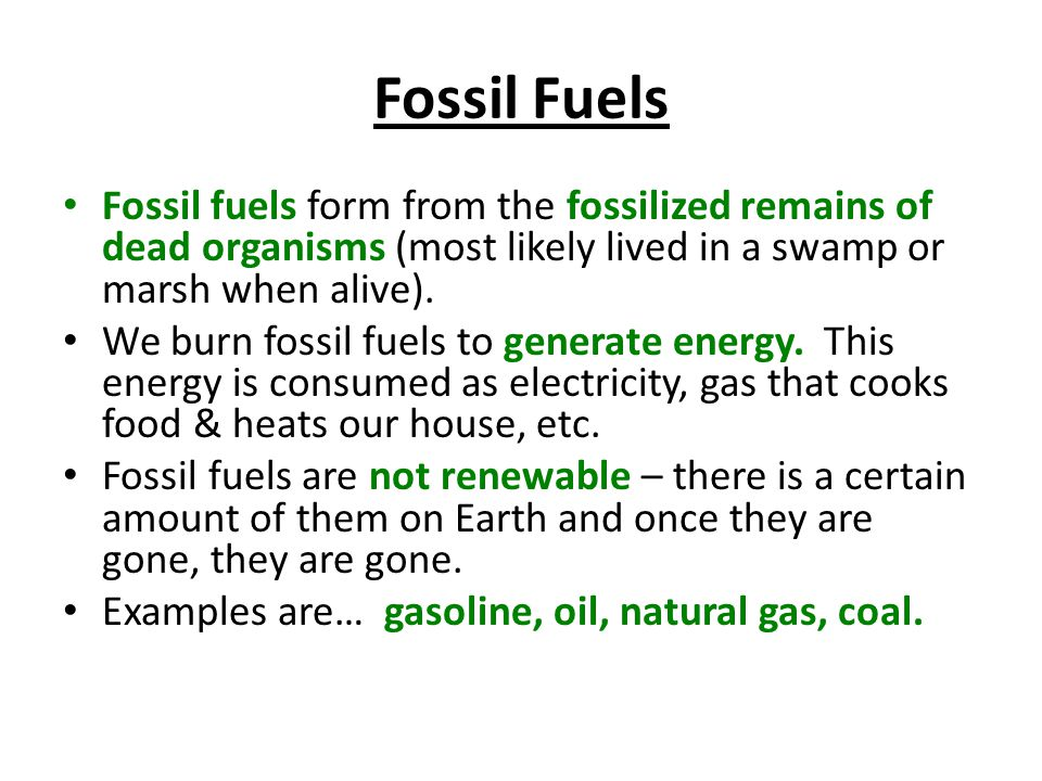 Fossil Fuels Fossil fuels form from the fossilized remains of dead organisms (most likely lived in a swamp or marsh when alive).