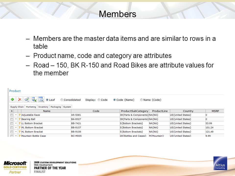 Members –Members are the master data items and are similar to rows in a table –Product name, code and category are attributes –Road – 150, BK R-150 an