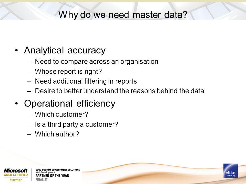 Why do we need master data.