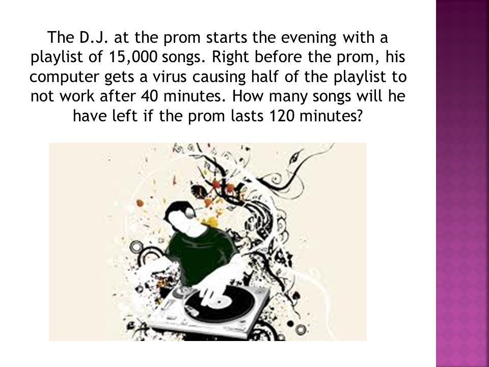 The D.J. at the prom starts the evening with a playlist of 15,000 songs.