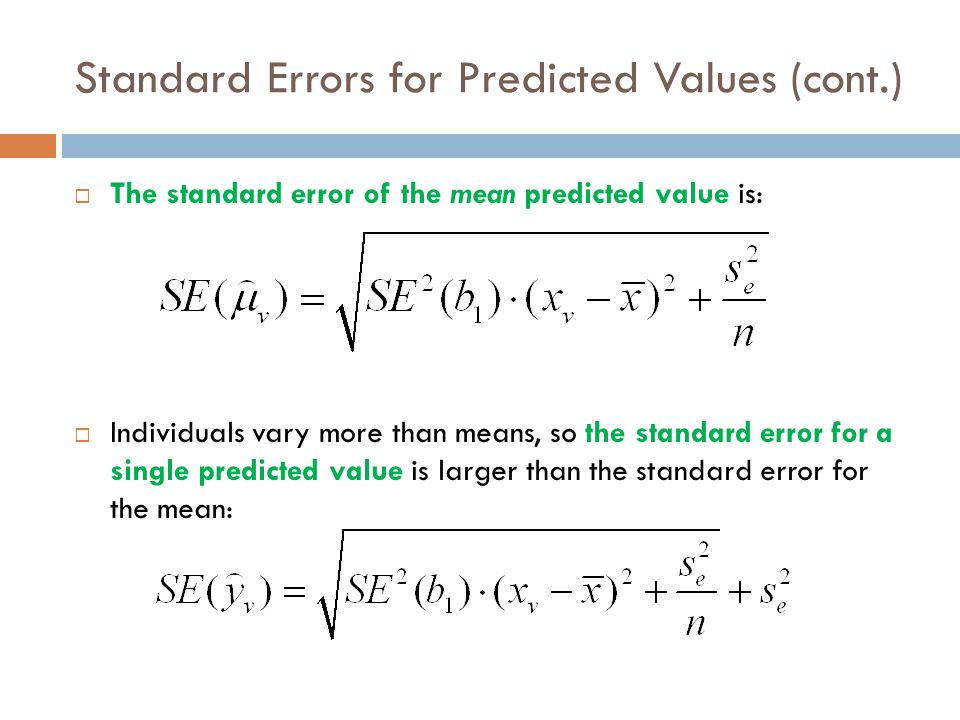 Standard Errors for Predicted Values (cont.)  Keep in mind the distinction between the two kinds of confidence intervals.