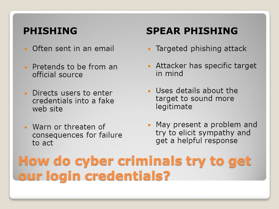 How do cyber criminals try to get our login credentials.