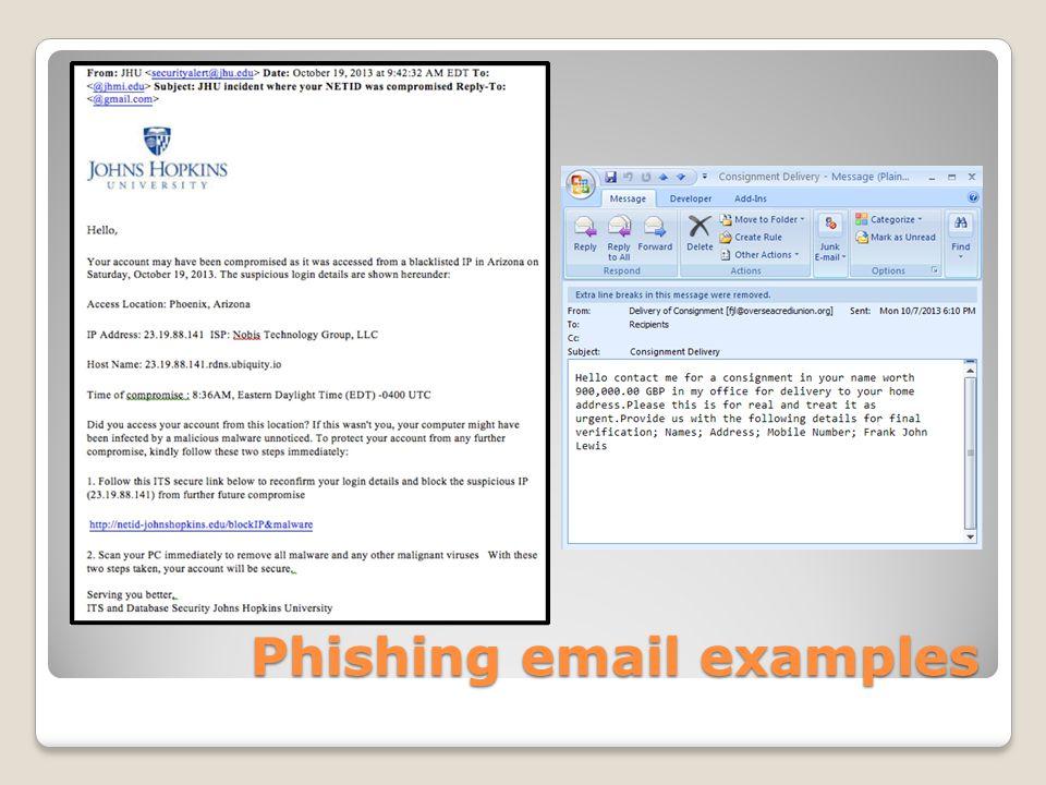 Phishing email examples Phishing email examples