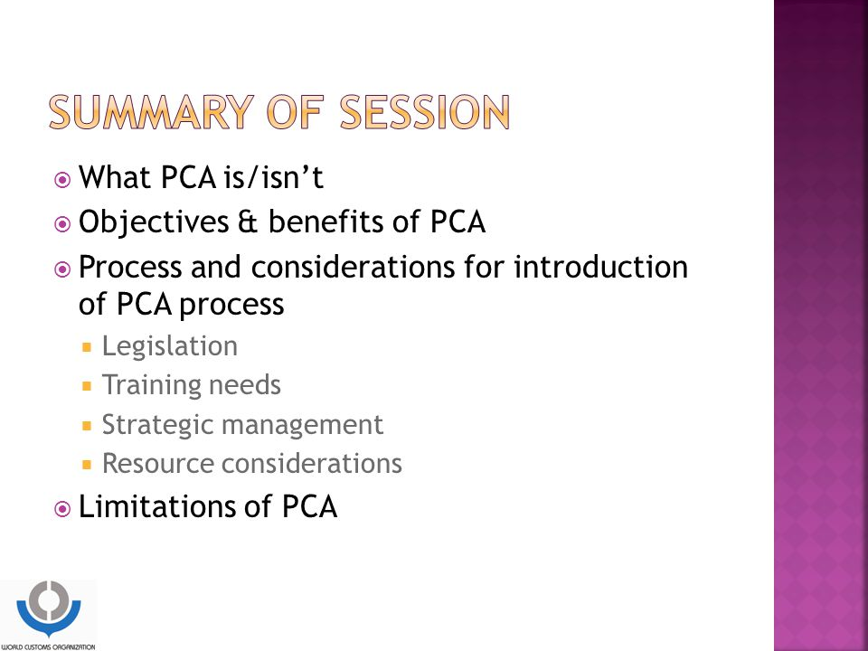 What PCA is/isn't  Objectives & benefits of PCA  Process and considerations for introduction of PCA process  Legislation  Training needs  Strategic management  Resource considerations  Limitations of PCA