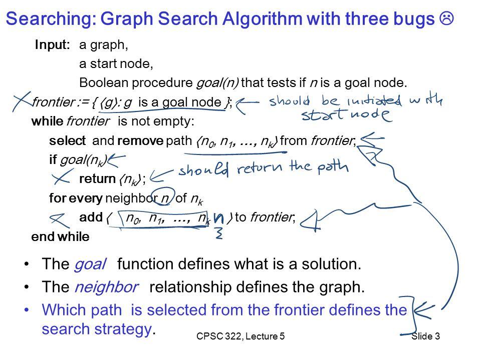 CPSC 322, Lecture 5Slide 4 Lecture Overview Recap Criteria to compare Search Strategies Simple (Uninformed) Search Strategies Depth First Breadth First