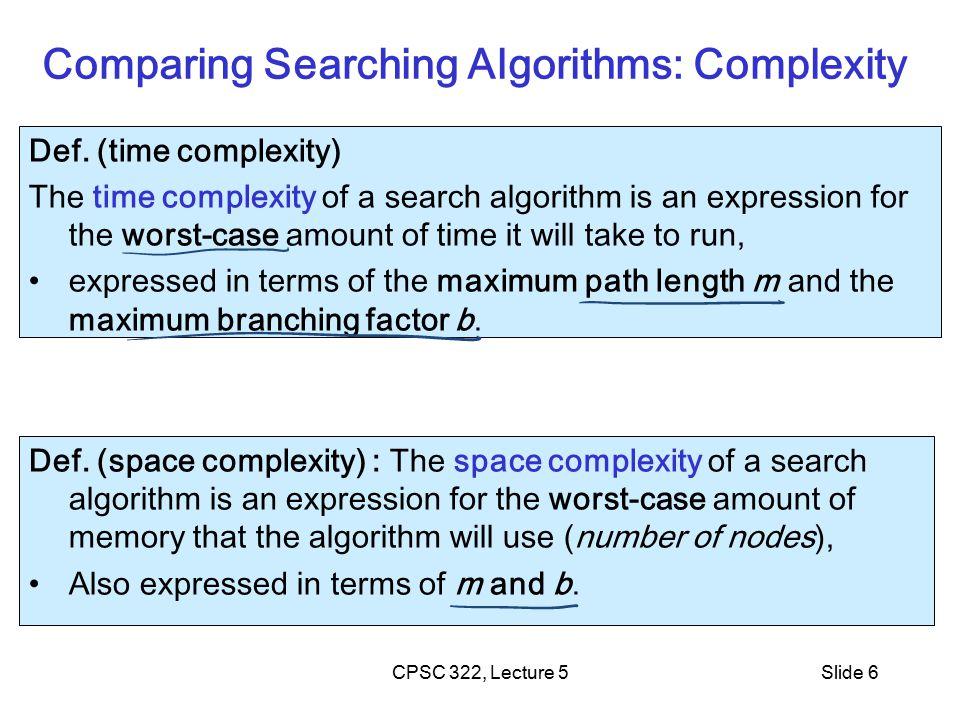 CPSC 322, Lecture 5Slide 7 Lecture Overview Recap Criteria to compare Search Strategies Simple (Uninformed) Search Strategies Depth First Breadth First