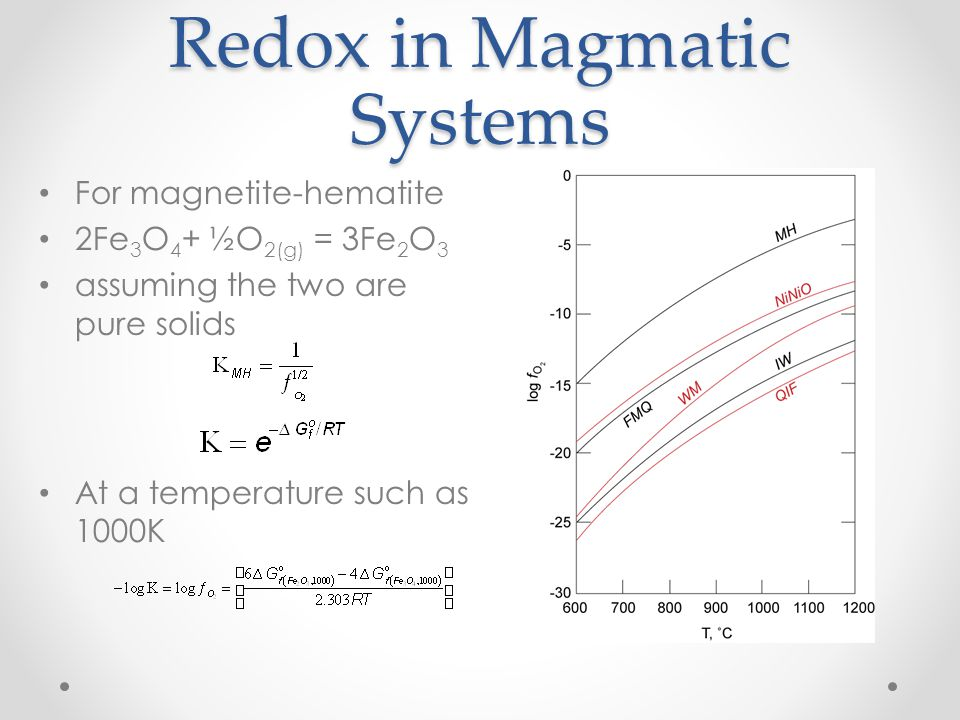Redox in Magmatic Systems For magnetite-hematite 2Fe 3 O 4 + ½O 2(g) = 3Fe 2 O 3 assuming the two are pure solids At a temperature such as 1000K