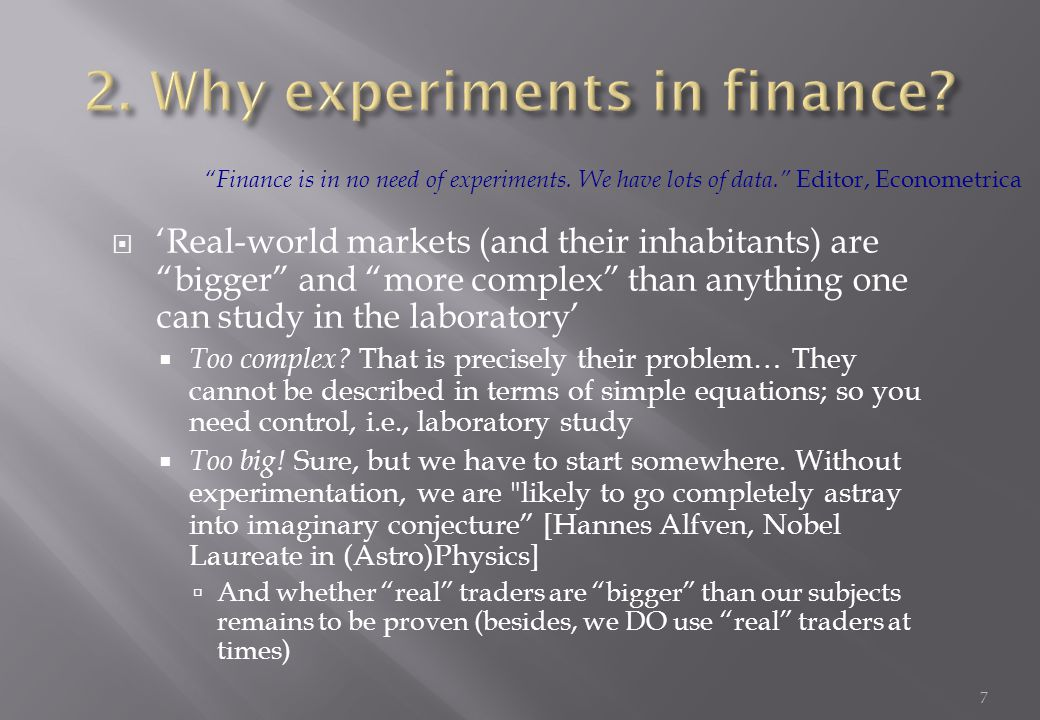  (Many) economists argue that the way to understand financial markets is to extrapolate from the individual (decision making).