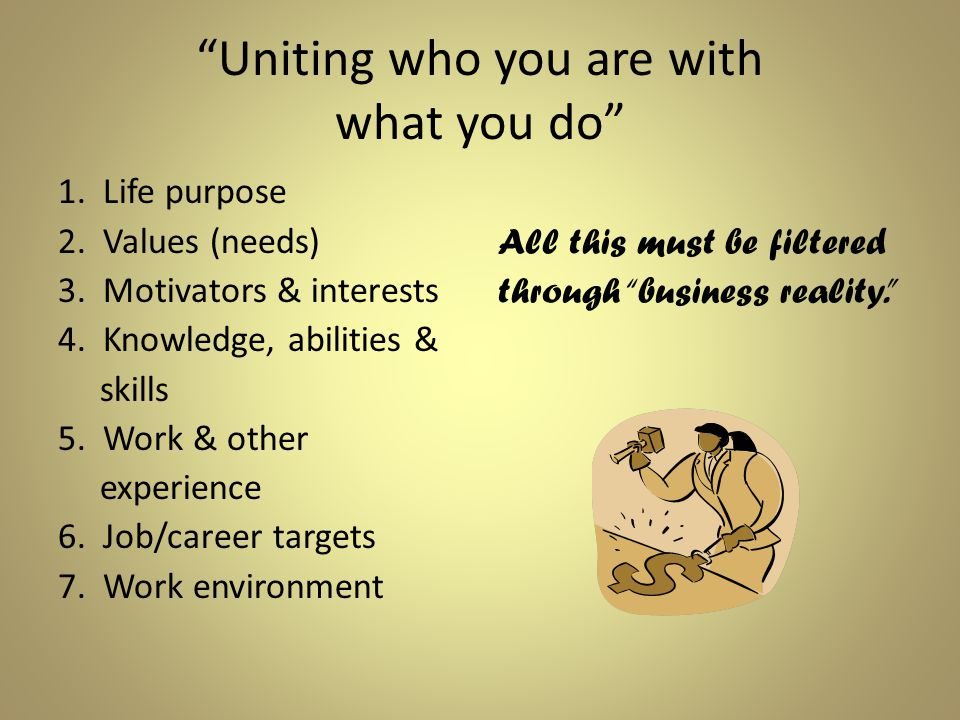 Uniting who you are with what you do 1. Life purpose 2.