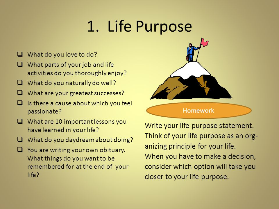 1. Life Purpose  What do you love to do.