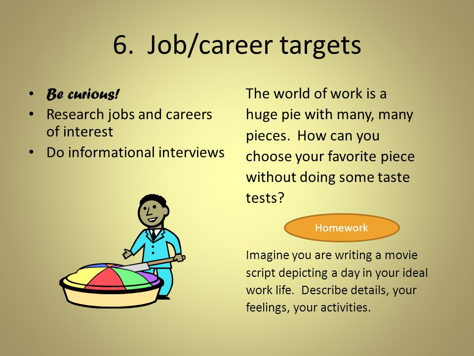 6. Job/career targets The world of work is a huge pie with many, many pieces.