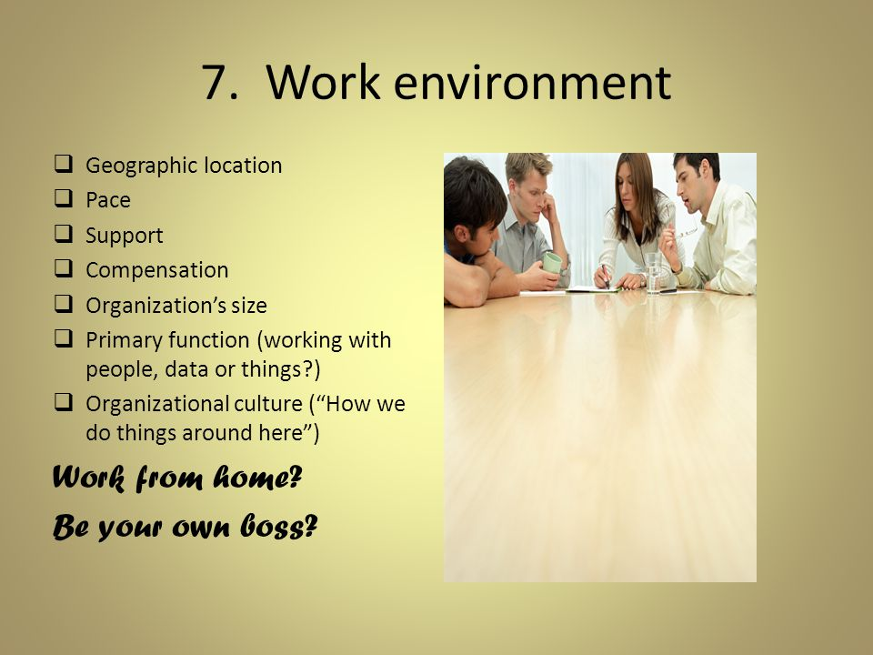 7. Work environment  Geographic location  Pace  Support  Compensation  Organization's size  Primary function (working with people, data or thing