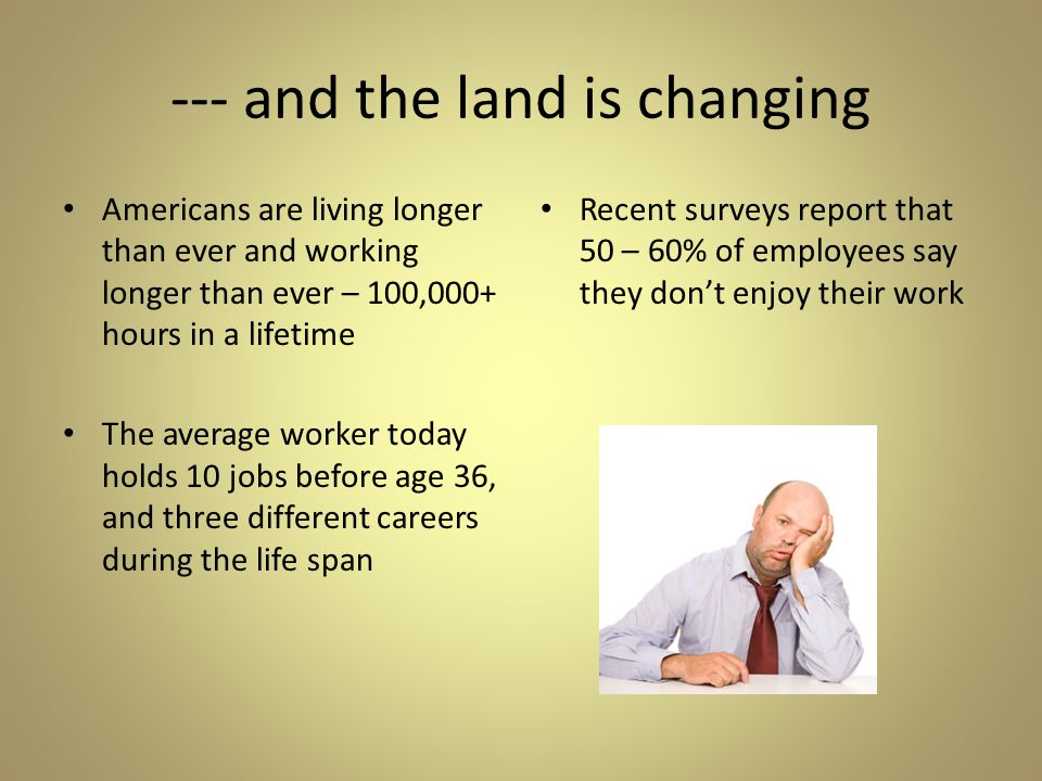 --- and the land is changing Americans are living longer than ever and working longer than ever – 100,000+ hours in a lifetime The average worker today holds 10 jobs before age 36, and three different careers during the life span Recent surveys report that 50 – 60% of employees say they don't enjoy their work