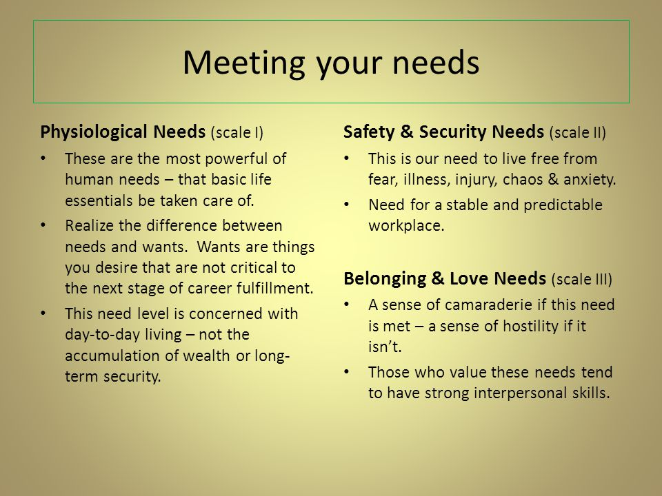 Meeting your needs Physiological Needs (scale I) These are the most powerful of human needs – that basic life essentials be taken care of.