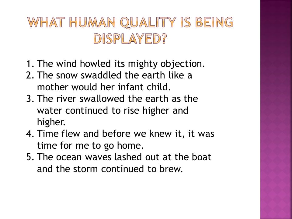 1.The wind howled its mighty objection. 2.The snow swaddled the earth like a mother would her infant child. 3.The river swallowed the earth as the wat