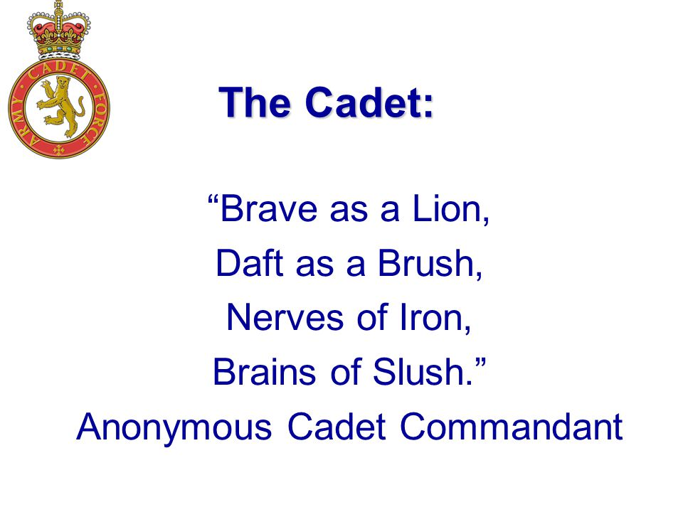 The Cadet: Brave as a Lion, Daft as a Brush, Nerves of Iron, Brains of Slush. Anonymous Cadet Commandant